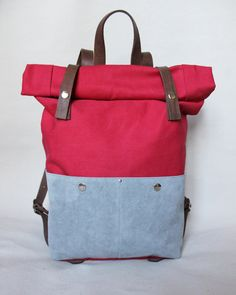 Backpack Rolltop Waxed Canvas with leather details, red, personalized