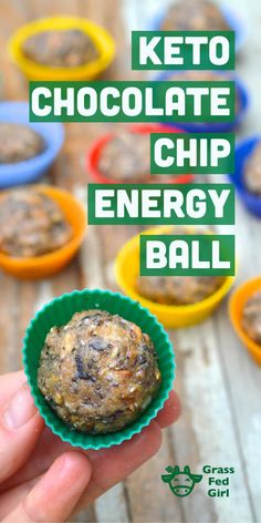 Keto Chocolate Chip Energy Ball Recipe (Low Carb, Paleo, Gluten Free, Vegan, Nut Free) | http://www.grassfedgirl.com/keto-chocolate-chip-energy-ball-recipe-low-carb-paleo-gluten-free-vegan-nut-free/
