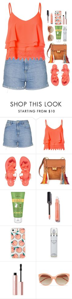 """""""Peaches."""" by krys-imvu ❤ liked on Polyvore featuring Topshop, Glamorous, Melissa, Chloé, Babo Botanicals, Kenneth Cole, Too Faced Cosmetics and Linda Farrow"""
