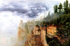 "North Rim Rain, 24 x 36"" oil on board by Robert Nelson"
