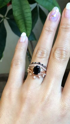 Unique yet romantic ~ black and white diamond crown wedding band + solitaire black diamond ring + curved leaf diamond wedding band in rose gold ~ what a gorgeous ring stack we can dream of ~ by La More Design Engagement Ring & Wedding Band Black Diamond Engagement, Gold Engagement Rings, Diamond Wedding Rings, Bridal Rings, Wedding Ring Bands, Bridal Jewelry, Engagement Jewelry, Black Wedding Rings, Wedding Gloves