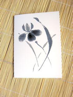 Black and White Japanese Iris Blank Greeting Card