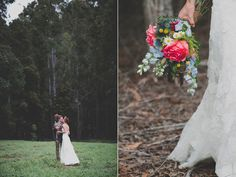 Gorgeous bouquet at this woodland wedding in Australia.