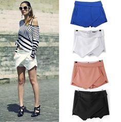Tiered Shorts Irregular Zipper Trousers Culottes Short Skirt