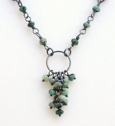 Sterling Silver & Emerald Necklace