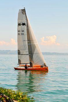 sailing boat, Peseux, Lake Neuchatel, Switzerland