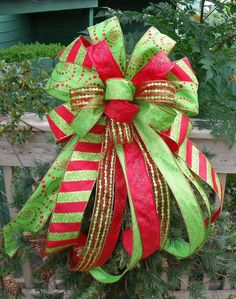 Christmas Tree Bow, Bow Topper, Wreath Bow, Treetop Bow, Red And Lime .