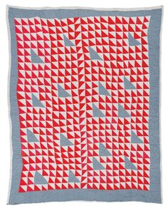 "Annie Bendolph, 1900-1981. ""Thousand Pyramids"" variation, ca. 1930, cotton sacking and chambray, 83 x 70 inches"