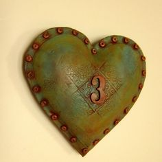 Industrial Chic Wall Heart number 3 by jmrpottery on Etsy, $64.00