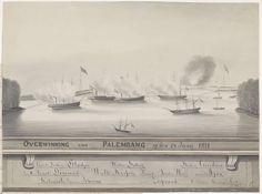 Barend Willem van der Graaff   Overwinning op Palembang, 1821, Barend Willem van der Graaff, 1821   Beschieting van de kustbatterijen gelegen aan de rivier in Palembang op Sumatra door Nederlandse oorlogsschepen onder bevel van generaal H.M. de Kock tijdens de Tweede expeditie naar Palembang, 24 juni 1821. Onderaan de namen van de kustbatterijen en van de Nederlandse oorlogsschepen. Bij de tekening behoort een afzonderlijke verklaring.