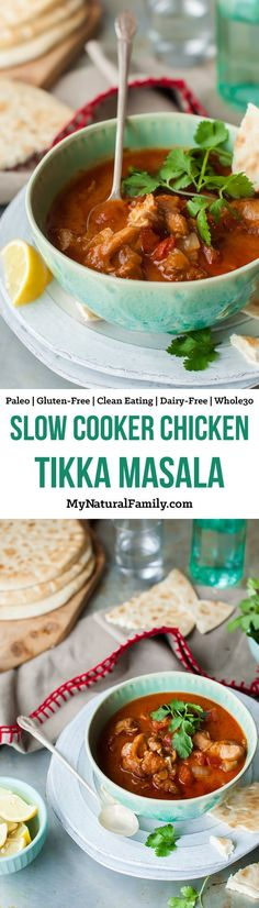 Slow Cooker Chicken Tikka Masala Recipe {Paleo, Clean, Gluten Free, Dairy Free, - this is so easy with only a few ingredients and it tastes like I was cooking in the kitchen for half the day. Pin this healthy soup recipe to try later. Crock Pot Recipes, Whole 30 Crockpot Recipes, Whole 30 Recipes, Slow Cooker Recipes, Soup Recipes, Chicken Tikka Masala Rezept, Indian Food Recipes, Real Food Recipes, Dairy Free