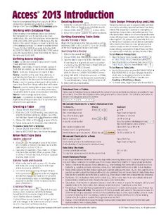 Microsoft Access 2013 Introduction Quick Reference Guide (Cheat Sheet of Instructions, Tips