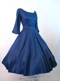 Vintage 50s Navy Rayon Full Skirt Party Cocktail Dress