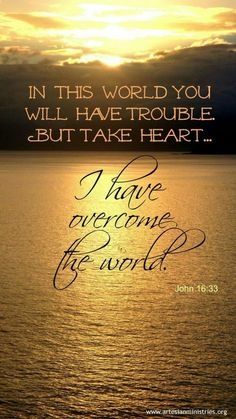 "One of my favorite verses! ""I have told you these things, so that in me you may have peace. In this world you will have trouble. But take heart! I have overcome the world. Bible Verses Quotes, Bible Scriptures, Faith Quotes, Bible Art, Healing Scriptures, Heart Quotes, John 16 33, 1 John, Overcome The World"