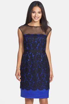 Illusion Yoke Lace Overlay Sheath Dress by Eliza J on @nordstrom_rack
