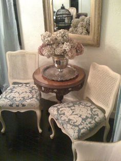 vintage french cane back barrel chair- love the twisted braid