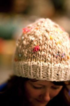 """Whimsy Hat: (Malabrigo Chunky Yarn Knit 16""""; size 15 needle & DPN's) Cast on 40 St, K1P1 for 7 rounds, change yarn & knit every round until hat is 5 ½ """" from bottom (10-12 rounds), Decreases: Rd 1. K3, K2TOG, repeat around Round 2. Knit Rd 3. K2, K2TOG repeat around Rd 4. Knit Rd 5. K1, K2TOG repeat around Rd 6. Knit Rd 7. 2TOG repeat around Draw yarn through remaining loops & cinch to finish. So whimsical!"""