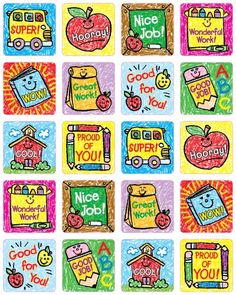 Carson Dellosa School Days: Kid-Drawn Motivational Stickers Many ways to motivate Acid free and lignin free 120 stickers per pack Sticker Size: x Teacher Stickers, Reward Stickers, Kids Stickers, Printable Stickers, Stickers Online, Classroom Board, Bulletin Boards, Teachers Be Like, Students Day