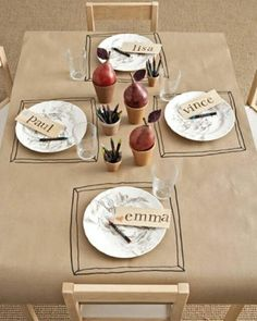 Brown Paper tablecloth! Bucket of crayons on every table. See what the guests draw.