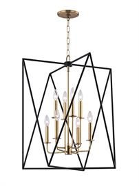 [Laszlo] - Laszlo makes a stunning first impression. A polished, tightly-scaled candelabra resides at center. Contrasting it in a dizzying geometric frame are two overlapping triangles in textured black metal. Traditional lamping and avant-garde abstraction juxtapose in a fixture whose allure brings [us] into the now. Initial 3D modeling assisted in the creation of the Yin Yang balance between both styles and finishes, which add to the dimension of the piece as well as the optical…