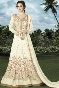Off White Net Anarkali Suit With Resham Work. Costumes Anarkali, Anarkali Suits, Abaya Style, Angrakha Style, Floor Length Anarkali, Indian Salwar Kameez, Designer Salwar Suits, Abaya Fashion, Lehenga Choli