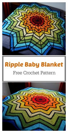 Crochet Projects Patterns Stained Glass Ripple Baby Blanket Free Crochet Pattern - The Stained Glass Ripple Baby Blanket Free Crochet Pattern is perfect as a baby blanket or a throw. It produces blankets that really capture attention. Crochet Rug Patterns, Crochet Motifs, Crochet Stitches, Free Crochet, Knitting Patterns, Crochet Rugs, Kids Crochet, Crochet Afghans, Crochet Crafts