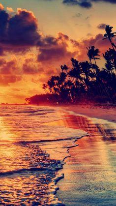 Nature Fire Sunset Beach Iphone  Wallpaper