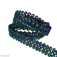 Galon ethnique - Violet vert et strass argentés - 10 mm - Au mètre (Sur mesure)