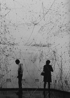 I thought this ( I think istallation) could be inspire a wall drawing in the staircase. Eva Hesse