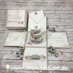 Stempellicht: Explosionsbox mit Torte für eine Hochzeit...
