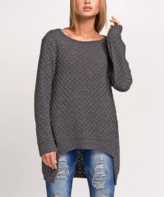 Another great find on #zulily! Graphite Boatneck Hi-Low Sweater #zulilyfinds