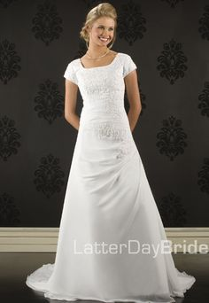 This is pretty close to the dress I want.  :)  Latter-Day Bride and Prom is the way to go!