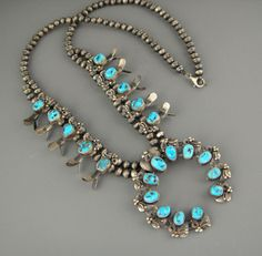 Old Pawn Navajo Kingman Blue FANCY Foliate Turquoise Squash Blossom Necklace