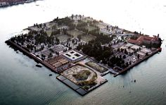 Aerial view of Cimitero di San Michele, Venice Venezia Veneto Sunken City, Old Cemeteries, Graveyards, Northern Italy, Venice Italy, Aerial View, Beautiful Places, San Michele, Bury