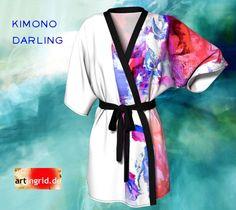 Kimono Darling Kimono Robe by Ingrid Kamerbeek. Printed artwork Kimono bath robe, available in silky knit and transparent chiffon fabric Chiffon Fabric, Silk, Knitting, Womens Fashion, Prints, Fashion Design, Clothes, Beautiful, Outfits