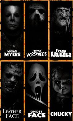 """""""Horror Icons"""" - Creative slasher series, but what did you do last summer, an urban legend, perhaps.^/> Got to love Horror slasher flicks! Slasher Movies, Horror Movie Characters, Horror Villains, Comedy Movies, Horror Movie Tattoos, Classic Horror Movies, Iconic Movies, Theme Halloween, Halloween Horror"""