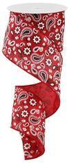 "Red Bandana Satin Ribbon - 2.5"" x 10Yd"