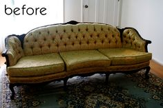 Tired Fabric Sofa Before Transformation.  From Design Sponge