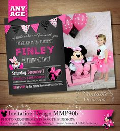 HUGE SELECTION Chalkboard Minnie Mouse Invitation, Pink Minnie Mouse Birthday Invitation, Chalkboard Birthday Invitation, DIY, Printable by ThePrintableOccasion on Etsy Minnie Mouse Birthday Invitations, Minnie Birthday, Pink Invitations, Third Birthday, Happy Birthday Banners, First Birthday Parties, First Birthdays, Birthday Ideas, Minnie Mouse Cupcake Toppers