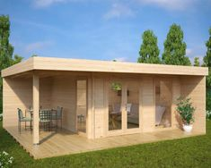 Garden room dining Hansa Lounge XL is the cream of the crop of our modern garden buildings. Large terraces and proper canopies create fantastic outdoor dining areas. If you are into buying a trendy garden room, Hansa Lounge XL is our recommendation. Tiny House Cabin, Tiny House Design, Summer House Garden, Home And Garden, Gazebo, Pergola, Garden Cabins, Garden Buildings, Garden Office