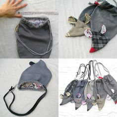 Rat bag from upcycled fabrics  Slipper bag  ready por LaGagiandra, €21.00