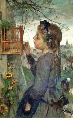 Girl feeding a bird in a cage by Jacob Maris