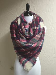 Beautiful acrylic over-sized blanket scarf in a magenta plaid with fringe ends. This sweet scarf will keep you styled and cozy warm! Winter Outfits, Preppy Outfits, Winter Clothes, I Fall To Pieces, Plaid Blanket Scarf, Magenta, Dream Wardrobes, Beautiful Scarves, Fashion Looks