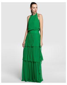 Vestido largo verde de Tintoretto rebajado