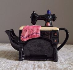 "Cardinal Inc Sewing Machine Black Teapot Hand Painted 1995 Measures approximately 8"" L x 3 1/2"" W x 6"" H Teapot is in very good condition,"
