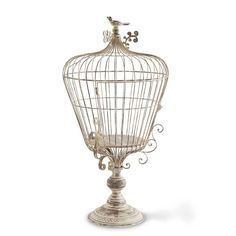 """New at Huckleberry Farmhouse! Stunning French Country wire birdcage on a pedestal. 28 1/2"""" h x 14"""" w. Check out our store for tons of farmhouse decor, handmade items, gifts, jewelry and so much more!"""
