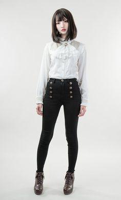 Lost Angel -Spirit of Knight- Ouji Lolita Trousers Such a cute outfit. Kawaii Fashion, Lolita Fashion, Cute Fashion, Fashion Black, Mode Outfits, Fashion Outfits, Grunge Outfits, School Outfits, Fall Outfits