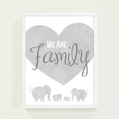 Gray Watercolor Elephant Family - Boy's Room Nursery Wall Art Quotes - We Are Family - Darby Smart