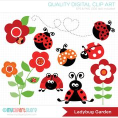 Ladybug Garden Red Clip Art / Digital Clipart  by MyClipArtStore, $5.00  https://www.etsy.com/listing/91106808/ladybug-garden-red-clip-art-digital?ref=sr_gallery_14&ga_search_query=flower+digital+clip+art&ga_order=most_relevant&ga_ref=auto1&ga_page=46&ga_search_type=all&ga_view_type=gallery