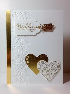 Polka Dot Punches: SU!, gold embossing, wedding, by beesmom - Cards and Paper Crafts at Splitcoaststampers